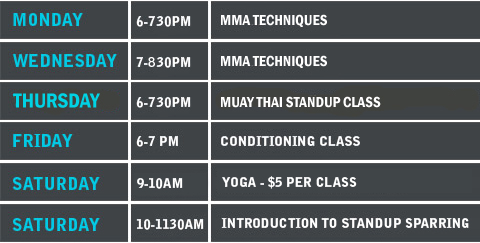 MMA Timetable